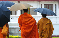 Laos0408 umbrella monks